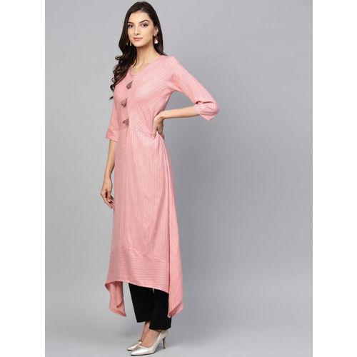 Shree Women Pink Self Striped A-Line Kurta