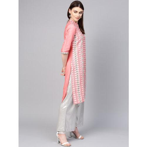 W Women Pink & White Printed Straight Kurta