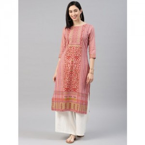Alena Pink Cotton Printed Straight Kurta