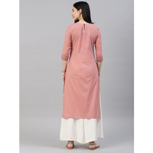 Alena Pink Cotton Printed Straight Kurta