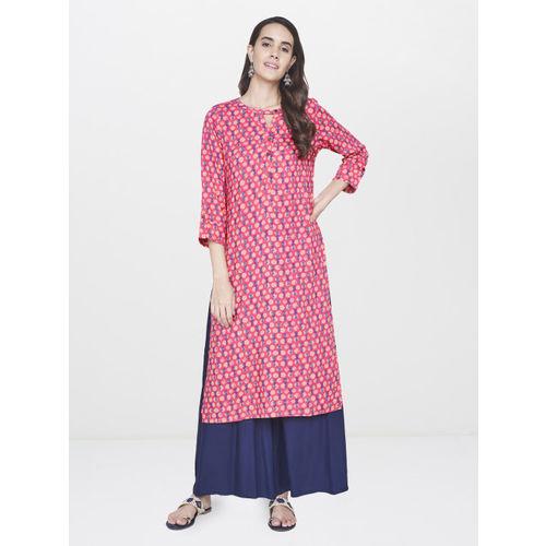 Global Desi Women Pink Printed Straight Kurta