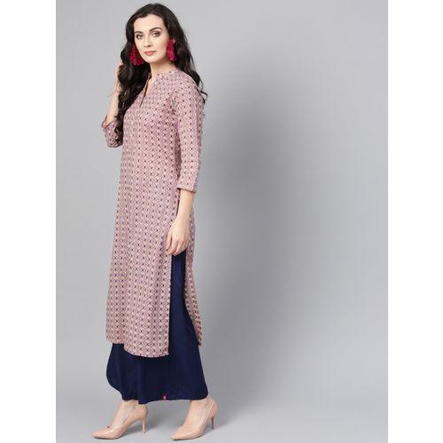 Varanga Women Pink & Blue Printed Straight Kurta