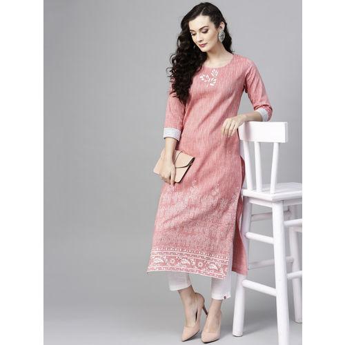 Pannkh Pink Cotton Block Print Straight Kurta