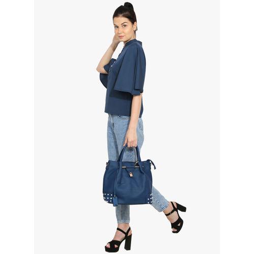 Butterflies Blue Polyurethane Textured Handheld Bag