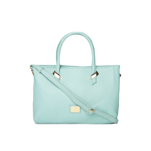 Caprese Blue Polyurethane Solid Handheld Bag