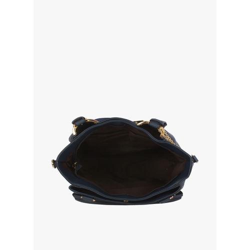 Butterflies Blue PU Solid Handbag