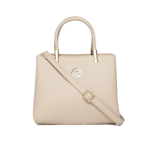 Lino Perros Beige Solid Handheld Bag with Detachable Sling Strap