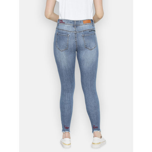 Deal Jeans Women Blue Skinny Fit Mid-Rise Clean Look Stretchable Cropped Jeans