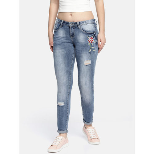 Deal Jeans Women Blue Slim Fit Mid-Rise Mildly Distressed Stretchable Jeans