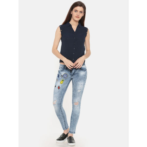 Deal Jeans Women Blue Skinny Fit Mid-Rise Mildly Distressed Jeans