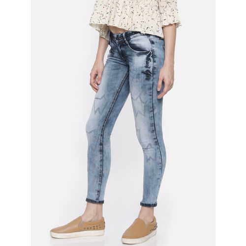 Deal Jeans Women Blue Skinny Fit Mid-Rise Mildly Distressed Cropped Stretchable Jeans