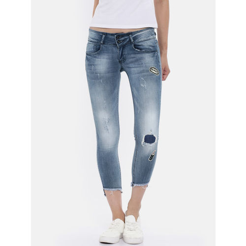 Deal Jeans Women Blue Regular Fit Mid-Rise Mildly Distressed Cropped Stretchable Jeans