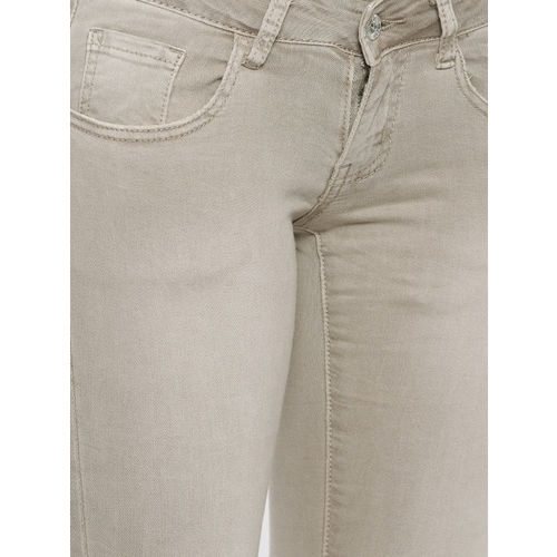 Deal Jeans Women Beige Skinny Fit Mid-Rise Clean Look Stretchable Cropped Jeans
