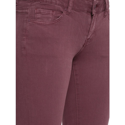 Deal Jeans Women Rust Brown Skinny Fit Mid-Rise Clean Look Jeans