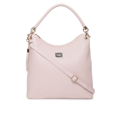 Lino Perros Pink Solid Handheld Bag with Sling Strap