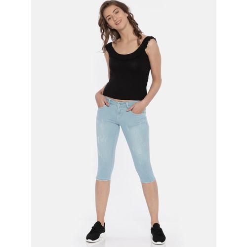 Deal Jeans Women Blue Solid Skinny Fit Capris