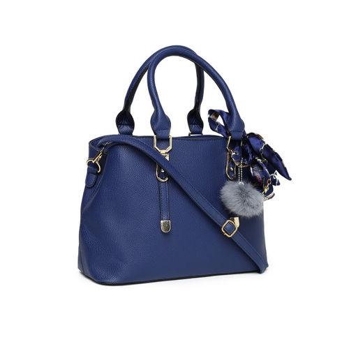 DressBerry Navy Blue Polyurethane Solid Handheld Bag