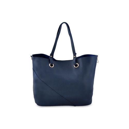 LaFille Navy Blue Solid Handheld Bag