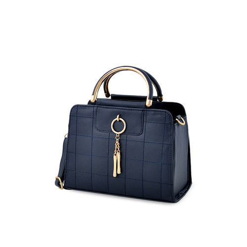 LaFille Navy Blue Textured Handheld Bag