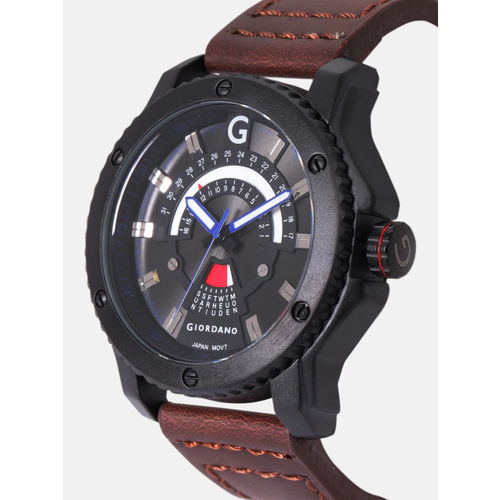 383f27e12b85d Buy GIORDANO Men Black Analogue Watch F1100-03 online | Looksgud.in