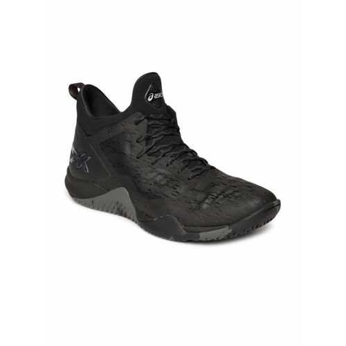 ASICS Men Black Blaze Nova Mid-Top Basketball Shoes