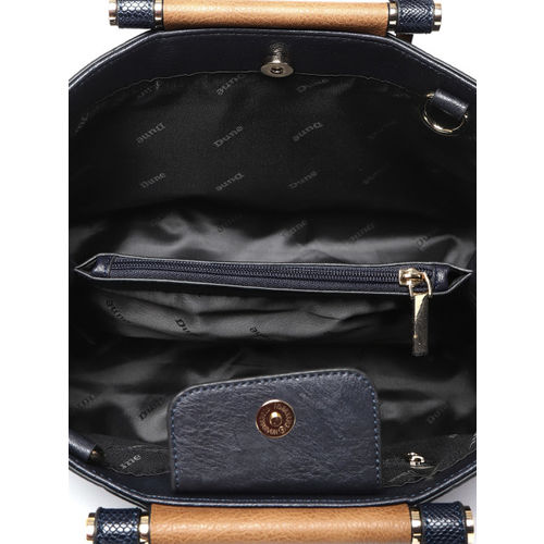 Dune London Navy & Brown Solid Handheld Bag