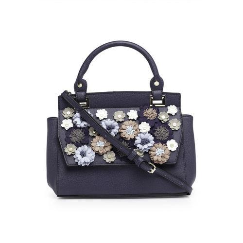 Dune London Navy Blue Appliqu Handheld Bag with Detachable Sling Strap