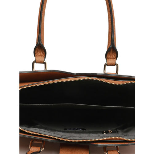 Dune London Tan Brown & Navy Blue Colourblocked Handheld Bag