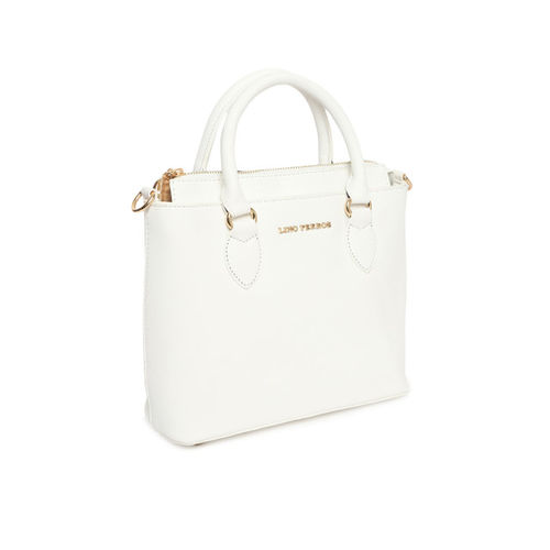 Lino Perros White Solid Handheld Bag with Detachable Sling Strap