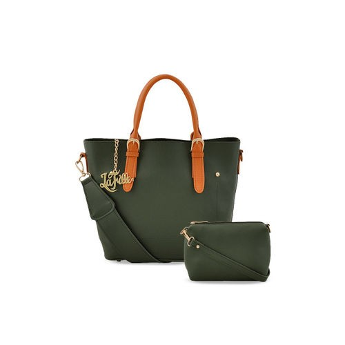 LaFille Women Green Set of 2 Solid Handbags