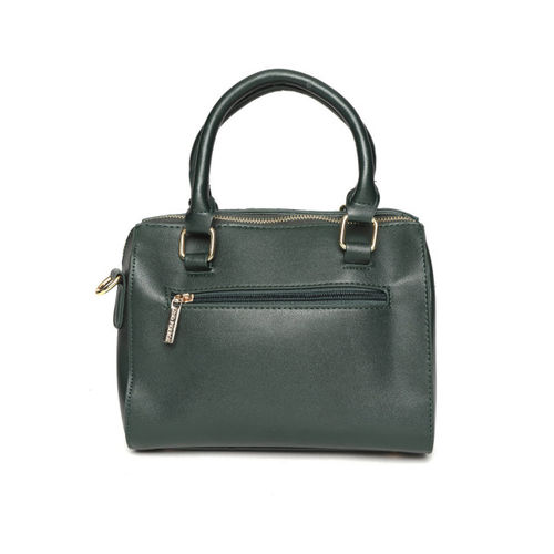 Lino Perros Green Solid Handheld Bag with Sling Strap