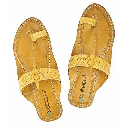 f39fb5dc0417da ... eKolhapuri Good Looking Light Yellow Ladies Authentic Handmade Genuine  LeatherKolhapuri Chappal ...