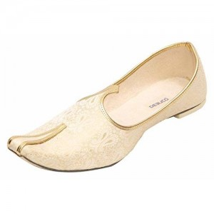 DEEUCO Men's Golden Wedding Jutti,Sherwani Mojari's and Traditional Shoes