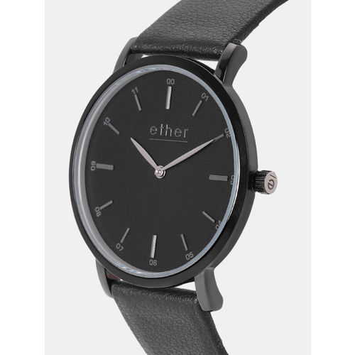 ether Men Black Analogue Watch DES-WAT-E7-A