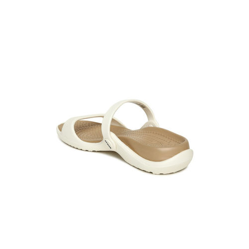 Crocs Women White Solid Cleo Open Toe Flats