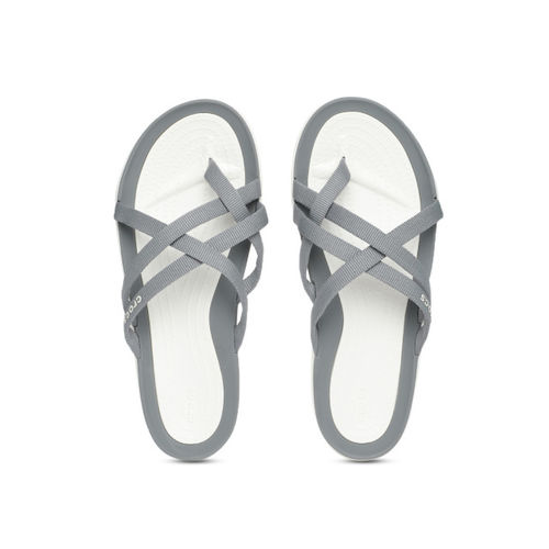 Crocs Women Grey Solid One Toe Flats