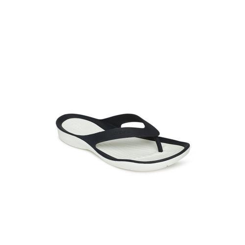 Crocs Women Navy Blue & White Solid Thong Flip-Flops