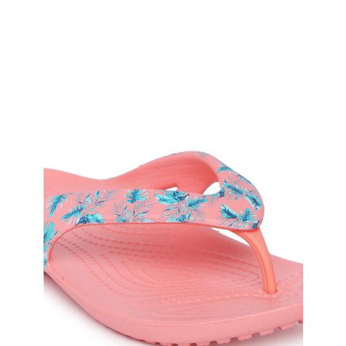 Crocs Women Peach-Coloured & Blue Printed Thong Flip-Flops
