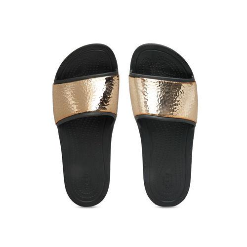 Crocs Women Black & Gold-Toned Solid Sliders
