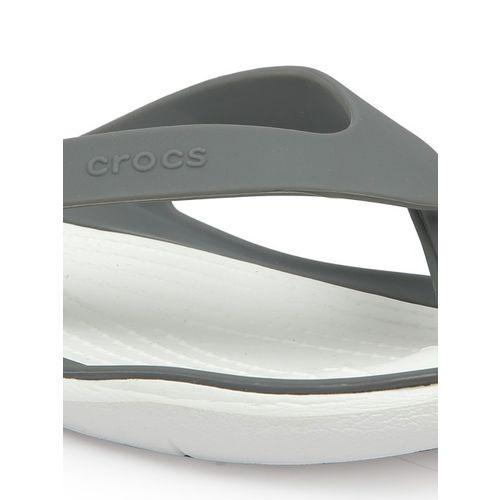 Crocs Women Grey & White Solid Thong Flip-Flops