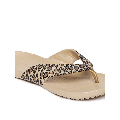 Crocs Women Brown Printed Thong Flip-Flops