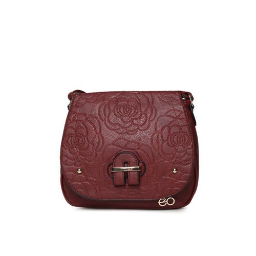 E2O Maroon Embroidered Sling Bag