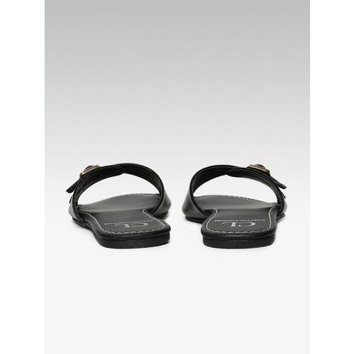 Carlton London Women Black Solid Open Toe Flats
