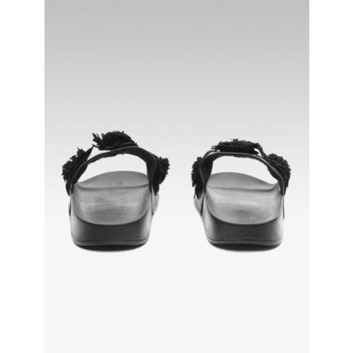 Carlton London Women Black Solid Synthetic T-Strap Flats