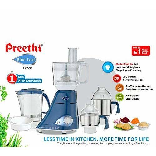 Preethi MG214 Blue Leaf Expert 750 W Mixer Grinder with Master Chef jar