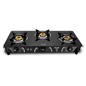 Preethi - GTS124 Zeal Glass Top 3 Burner Gas Stove, Manual Ignition, Black