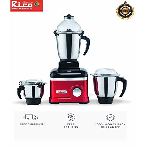 Rico Mixer Grinder 1 HP with Heavy Copper Motor 100% Heavy Grinding with 3 Jars with Metal Base (Red) Unbreakable Jar Shock Proof with Anti Skid Legs 2 Years