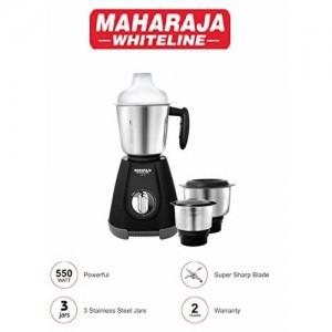 Maharaja Whiteline 1.2.3 Mixer Grinder 550-Watt Mixer Grinder with 3 Jars Black-Grey (with Chrome Knob)