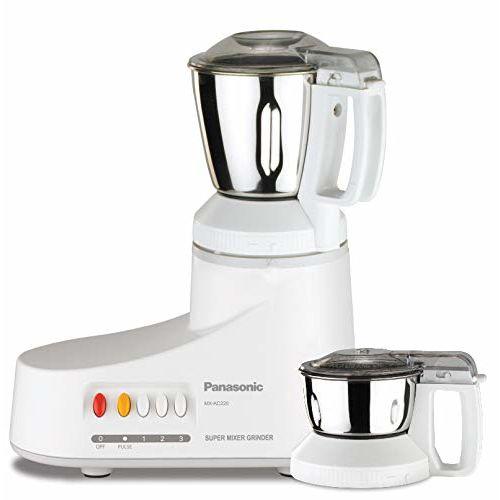 Panasonic AC MX-AC220-H 1000-Watt Mixer Grinder with 2 Jars (White)