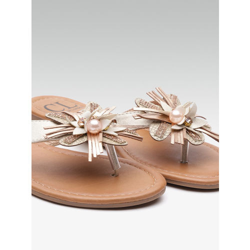 Carlton London Women Muted Gold-Toned Applique Open Toe Flats